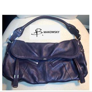 B. Makowsky Purple Leather Handbag/Purse